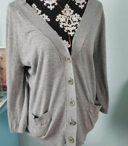 Vince grey cardigan sweater w button slee…